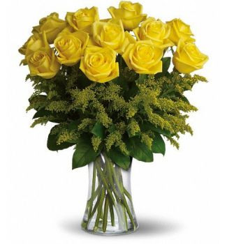 Rosy Glow Bouquet 12 Yellow Roses Mimosa Fleurs